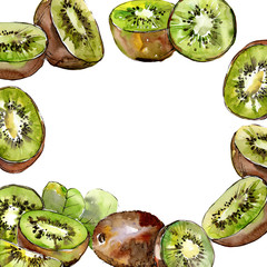 Exotic kiwi wild fruit in a watercolor style frame. Full name of the fruit: kiwi. Aquarelle wild fruit for background, texture, wrapper pattern or menu.