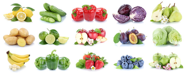 Poster de jardin Légumes frais Fruits and vegetables collection isolated apples strawberries lemons colors fruit