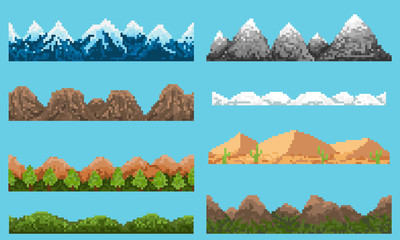 A set of pixel seamless element landscape