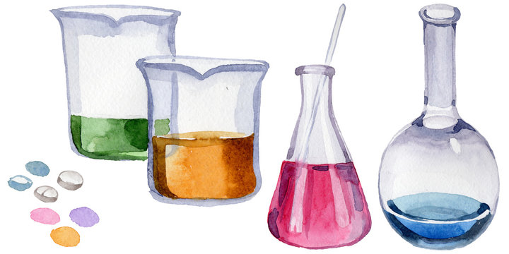 Beakers clinic pharmacy set. Hospital ambulance emergency chemistry element. Science treatment medicament therapy. Doctor medical laboratory.