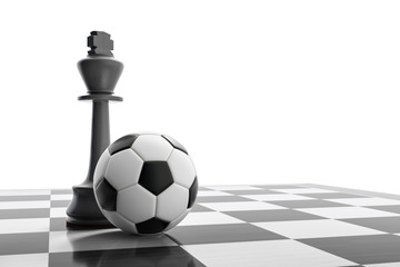 a soccer ball on a chess board