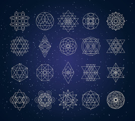 sacred geometry outline shapes vector set