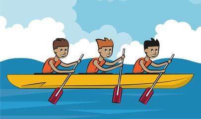Rafling water sport cartoon vector illustration graphic design
