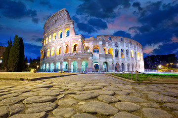 Colosseum in Rome at dusk, Italy