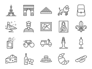 France travel icon set. Included the icons as French toast, landmarks, The Eiffel Tower, baguettes, Paris fashion, Brand name, Poodle dog, attractions and more