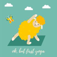 Cute cartoon sheep doing some yoga exercises