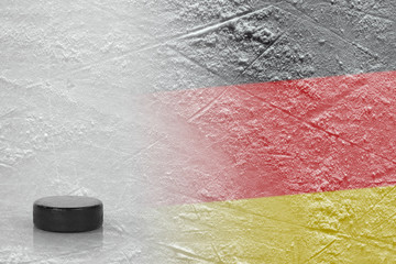 Image of the German flag with a hockey puck
