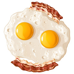 Яичница из двух яиц с беконом, изолированная векторная иллюстрация на белом фоне