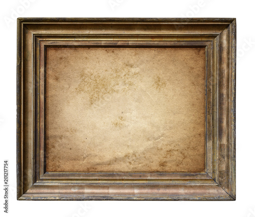 Old Parchment Paper In Vintage Rustic Wood Frame Isolated On White Background