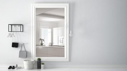 Scandinavian entrance lobby hall with mirror reflecting bright kitchen with big window, minimalist white interior design