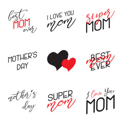Mothers Day Lettering Calligraphic Emblems Set. Isolated on black vector illustration. Happy Mothers Day, Best Mom, Love You Mom Inscription. Vector Design Elements For Greeting Card and Other Print