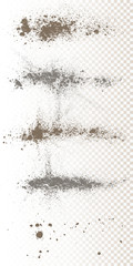 Scattered powder falls, stains, splashes, powder explosion. On an isolated background. Grunge blots trail and spray.