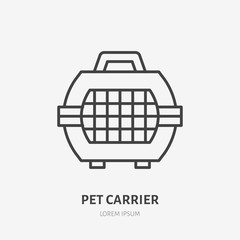 Pet carrier flat line icon. Animal crate sign. Thin linear logo for airport baggage rules.