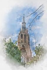 New Church in Delft, Netherlands, digital watercolor illustration