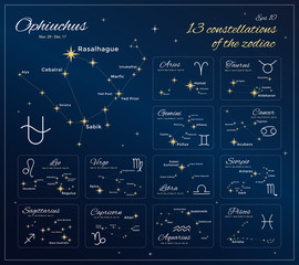 Zodiac Constellations Set. 13 Constellations with titles, dates and proper names of stars. Horoscope. Zodiac signs. Vector illustration