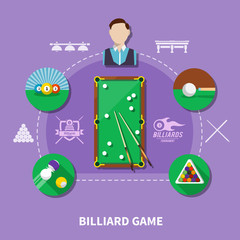 Wall Mural - Billiard Game Composition