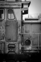 old train - black and white image