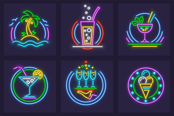 Set of Neon Icons. Beach cocktails tequila, wine, and mojito