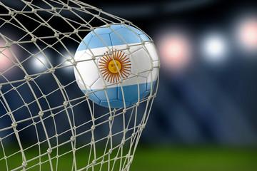 Argentinian soccerball in net