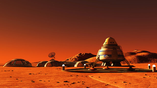 The image of Mars base 3D illustration