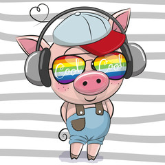 Cute Pig with sun glasses