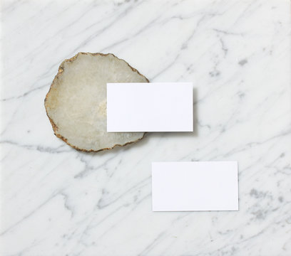 Blank business cards and coaster