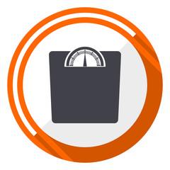 Weight flat design orange round vector icon in eps 10