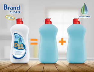 Plastic container with detergent