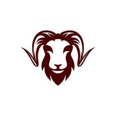 Goat head logo template vector illustration