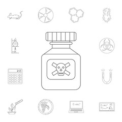 Glass Poison Bottle icon. Detailed set of Science and lab illustrations. Premium quality graphic design icon. One of the collection icons for websites, web design, mobile app