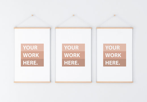 3 Vertical Roll-Up Posters on Wall Mockup