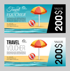 Summer travel voucher with beach umbrella and sea