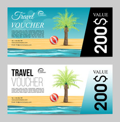 Summer travel voucher with palm tree and sea