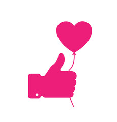 Pink thumb up icon with pink heart balloon.  Vector illustration