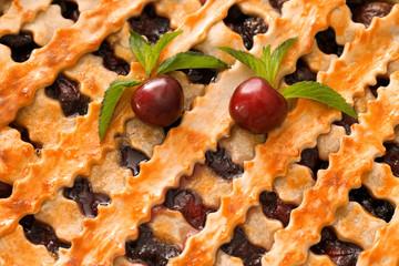 Delicious cherry pie with lattice top, closeup