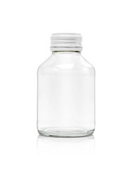 blank packaging clear glass bottle with white cap isolated on white background