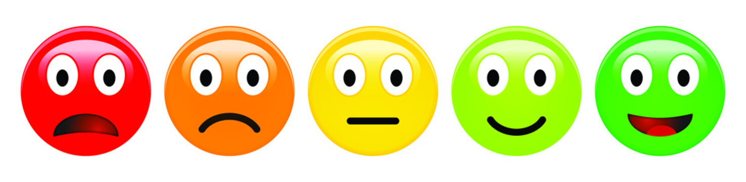 Feedback rating scale of red, orange, yellow and green emoticons, 3d Smiley icons in different colours.