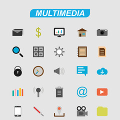 Multimedia icons set vector