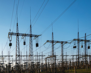 High voltage power lines. Thermal power plant. High-voltage transformer substation.