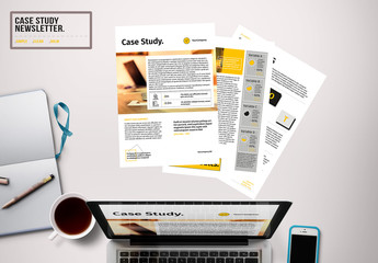 Newsletter Layout with Black and Yellow Accents