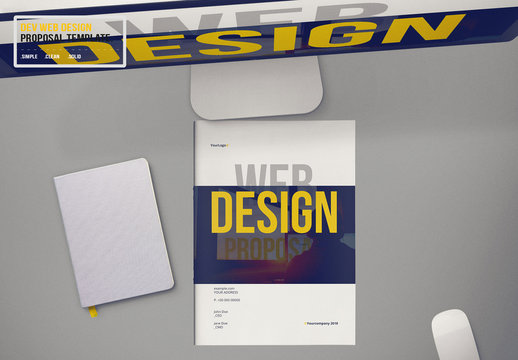 Web Design Proposal Layout with Black and Yellow Accents