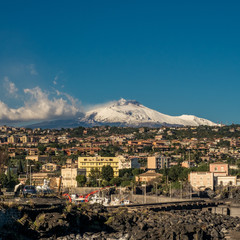 12-28-2016. Catania, Sicily, Italy. The Etna volcano viewed from Ognina.