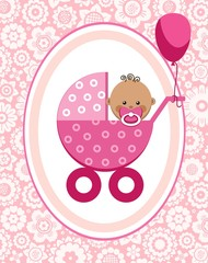 Little girl, Africa, postcard, floral background, vector. A little girl in a pink stroller. A pink balloon is tied to the stroller. Color, flat card. Congratulation. Pink flowers on a pink field.