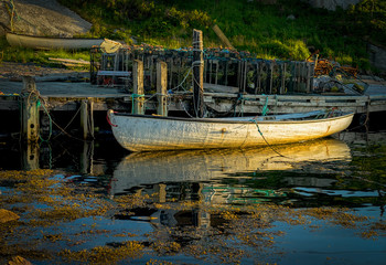 Boats at Peggy's Cove, Nova Scotia at dusk.