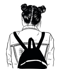 illustration of beauty girl with fashionable backpack and double dark buns. Perfect salon look.Trendy poster for textile, fabric, web, wallpaper, poster, home design, office design.