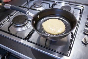 Pancake fried in a pan