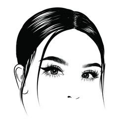 Illuistration of a girl with silky hair Perfect salon look.Trendy poster for textile, fabric, web, wallpaper, poster, home design, office design.