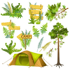 Set elements for computer games. Tourist tent, pine trees and branches, fern, wooden panels with space for text. Isolated vector illustration.