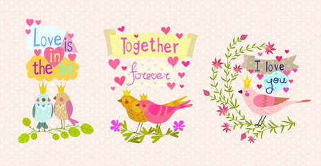 A cute illustration with birds is made in a bright decorative style, a beautiful print for your product