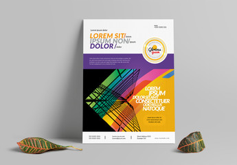 Flyer Layout with Multicolored Overaly